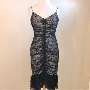 Kay Unger Lace Midi Black Dress
